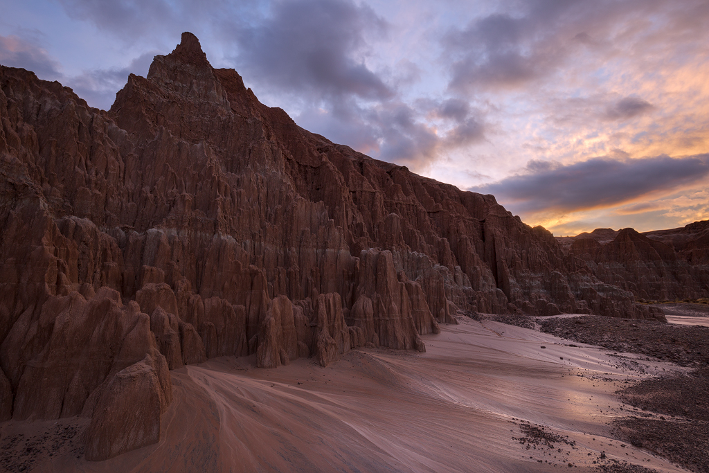 Wet Sunrise at Cathedral Gorge State Park, Nevada.© 2015, Ron Coscorrosa