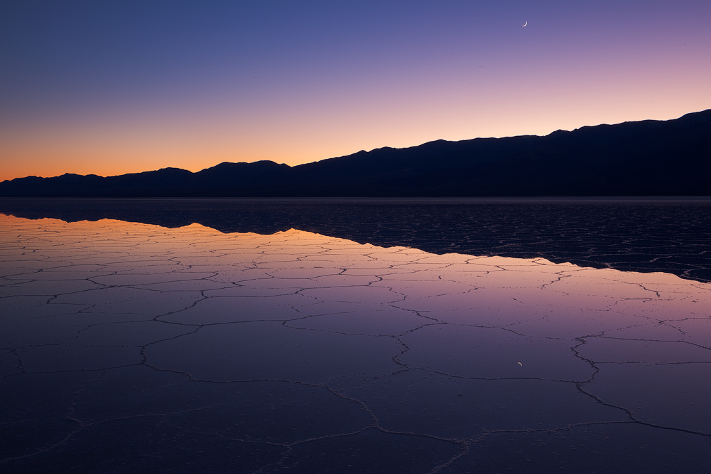 Crescent Twilight, Badwater Basin, Death Valley National Park.© 2015, Ron Coscorrosa