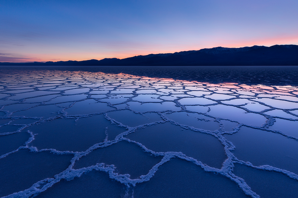 Twilight at Badwater Basin in Death Valley National Park.