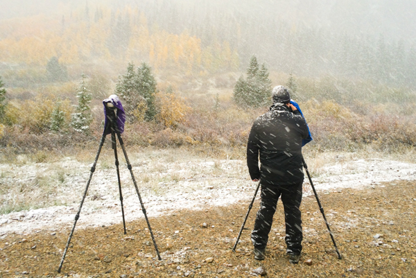 Photographing in the snow in Colorado.