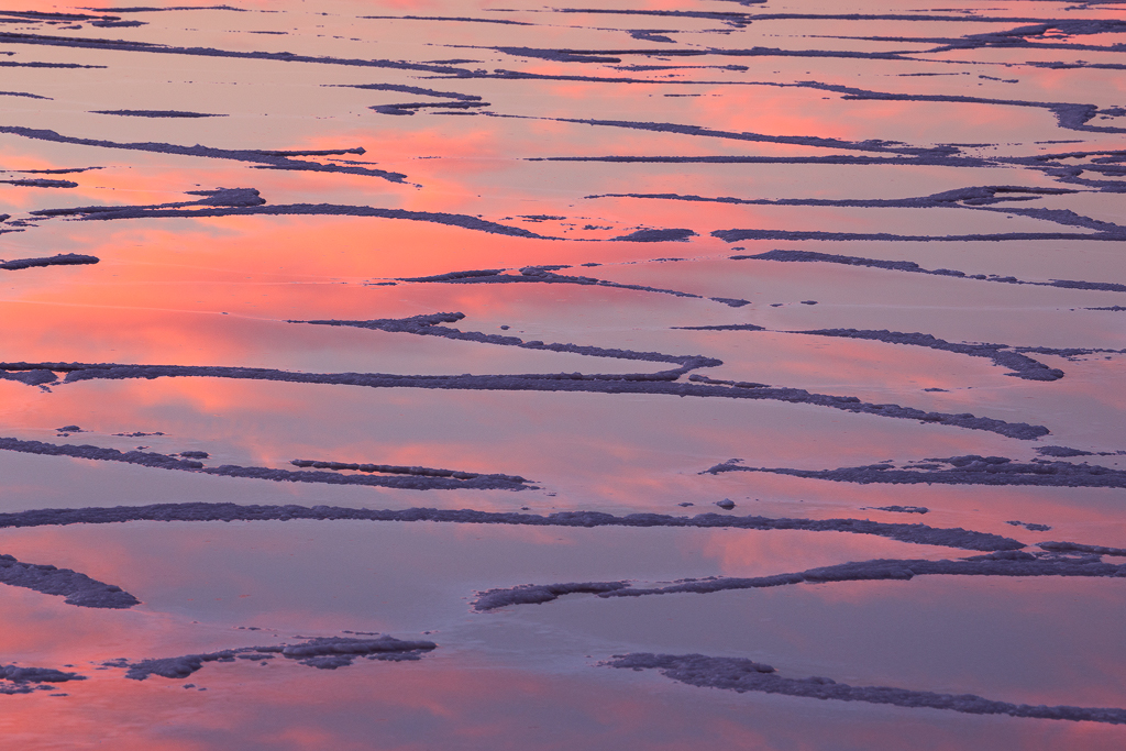 Abstract patterns and reflections at Badwater