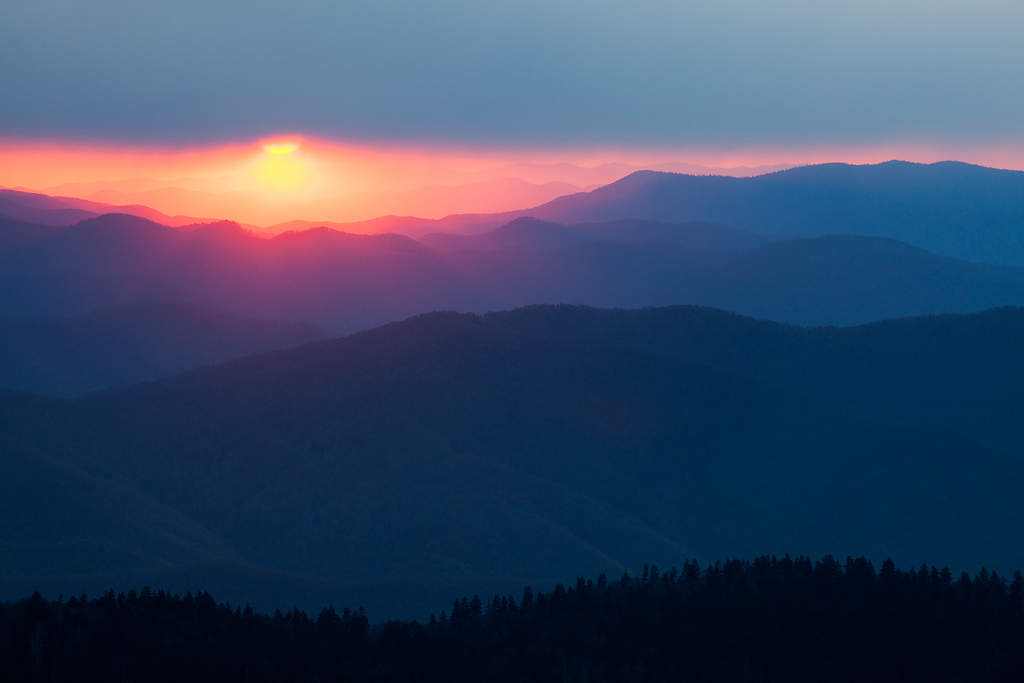 """""""Smokies Silhouette"""" - Silhouettes do not need to be completely black, in this case, each subsequent ridge is slightly brighter leading to the sun in the background."""
