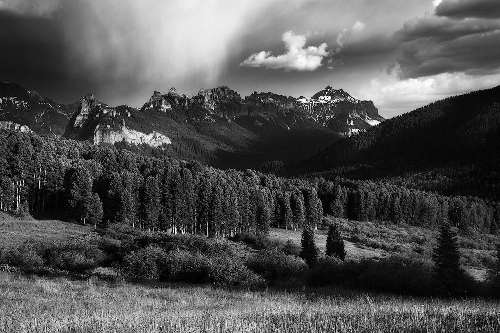 A thunderstorm over the Cimarron Mountains in southwestern Colorado.