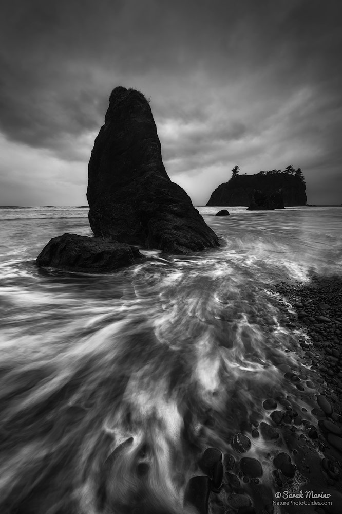 Ruby Beach Storm:  This photo is an example of how midday light can work for black and white photography. During our time in this park, high tide happened in the early afternoon and during the middle of the night, so I was happy to see this stormy weather at high tide. Here, the storm light helps add darkness and a sense of foreboding to the scene. Olympic National Park, Washington.