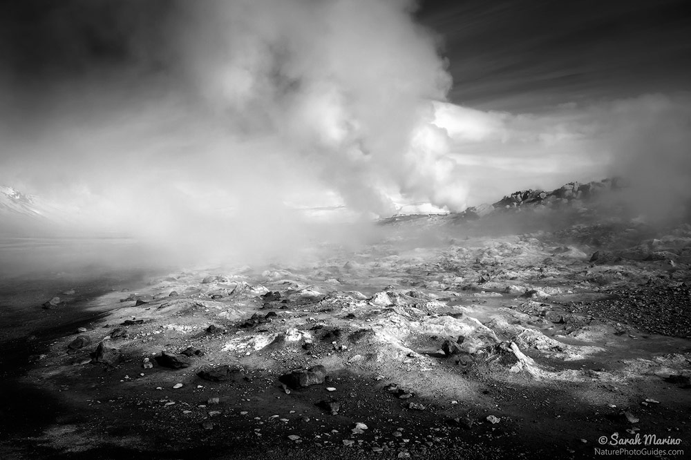 Geothermal Flow:  I took this photo in the middle of the day, a time that is not normally thought of as conducive for landscape photography. However, for a black and white photo, the light worked well in helping draw out the contrasts in the scene. Northern Iceland.