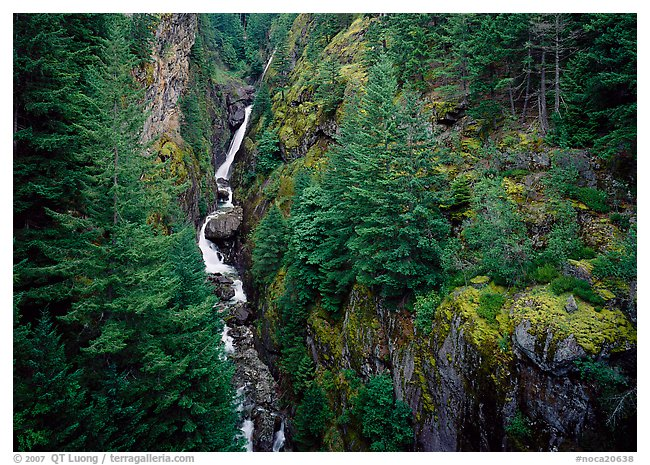 Gorge Creek falls in summer, North Cascades National Park Service Complex. Washington, USA.