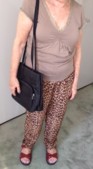Top  is neutral but doesn't really pick up color in pants.  Bag  has no style.  Shoes  are too chunky.
