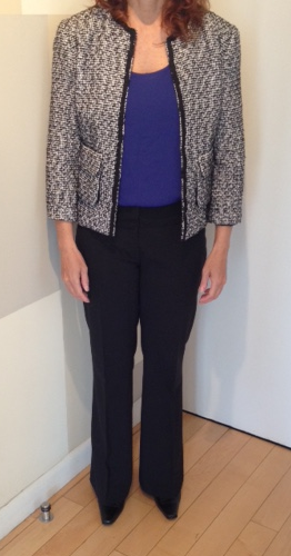 Jacket  is more updated. Pop of color on  top  is nice.  Pants  are more updated and proportional.