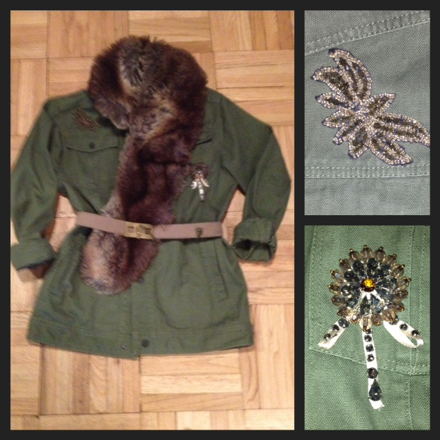 Removed casual hooded. Added waist shape with  belt . Add bling & glamor with  beaded appliques  and  fur collar .