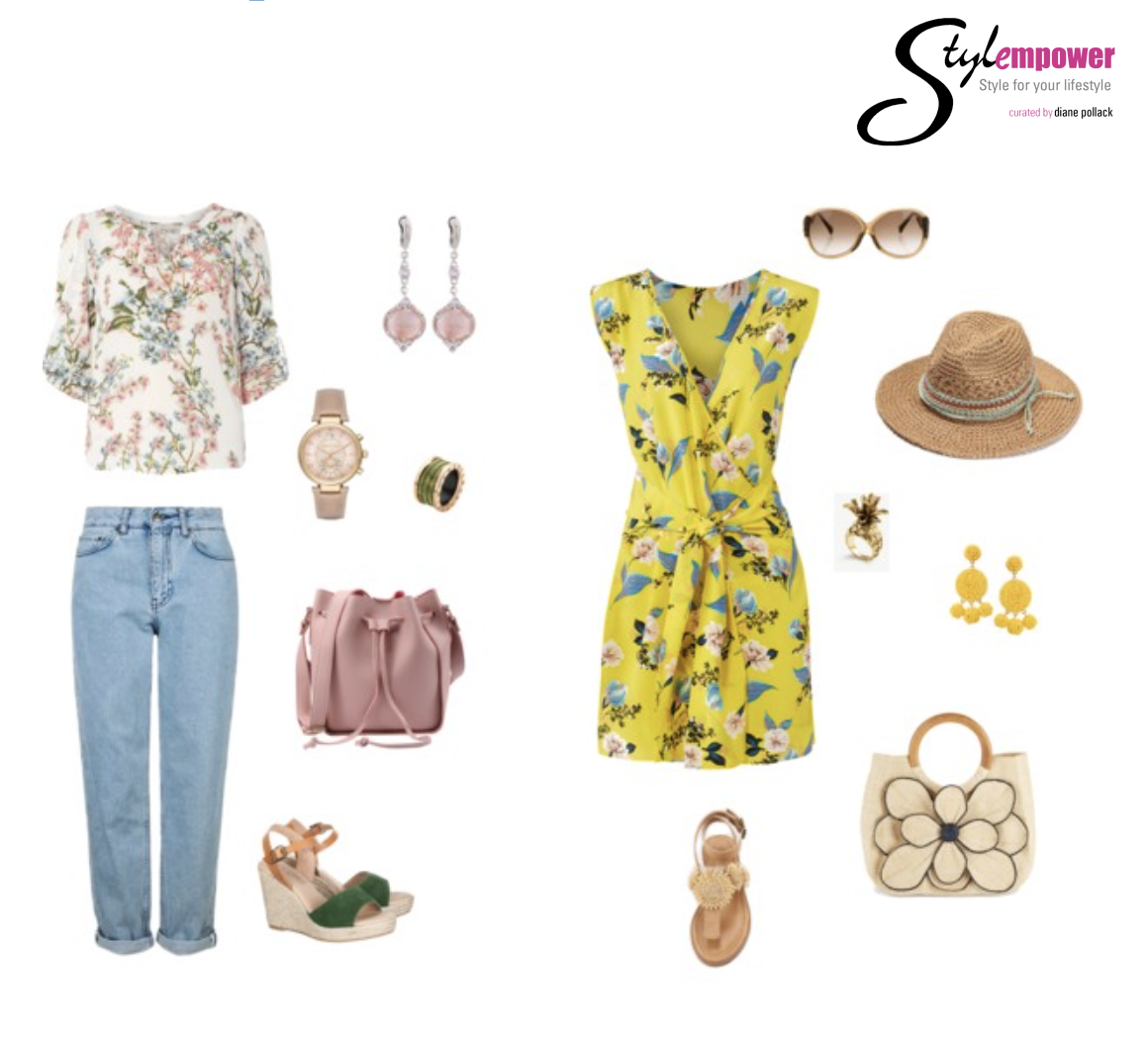 Summer Weekender  Stylist Tip  - Outfit 1 - Pull out colors from the print. Using different colors for the shoe and the bag makes it look more naturally styled and not overly international.  Stylist Tip  - Outfit 2 -  Accessories are key. Add a hat to shade yourself and for added style.