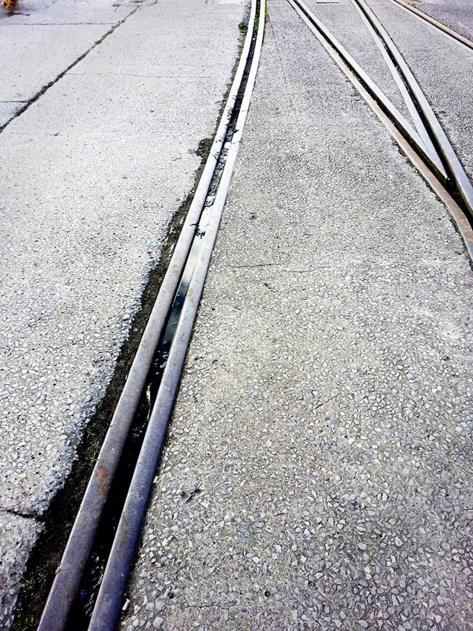 Tram Tracks on Pedestrian Road,SpikeIsland,  Copyright  © Coffinjune