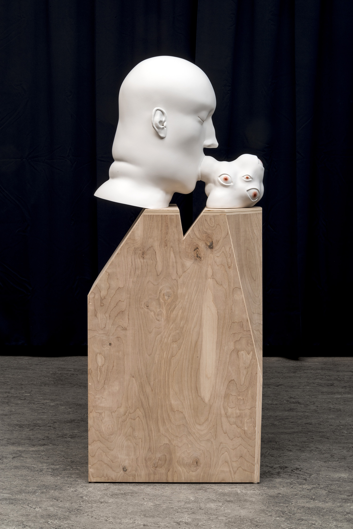 Tanya Batura  Untitled (head blob)  2014 clay, acrylic 21 x 11 x 24 inches 60 x 13 x 24 inches with pedestal Courtesy of 101/Exhibit   Photography: Alan Shaffer