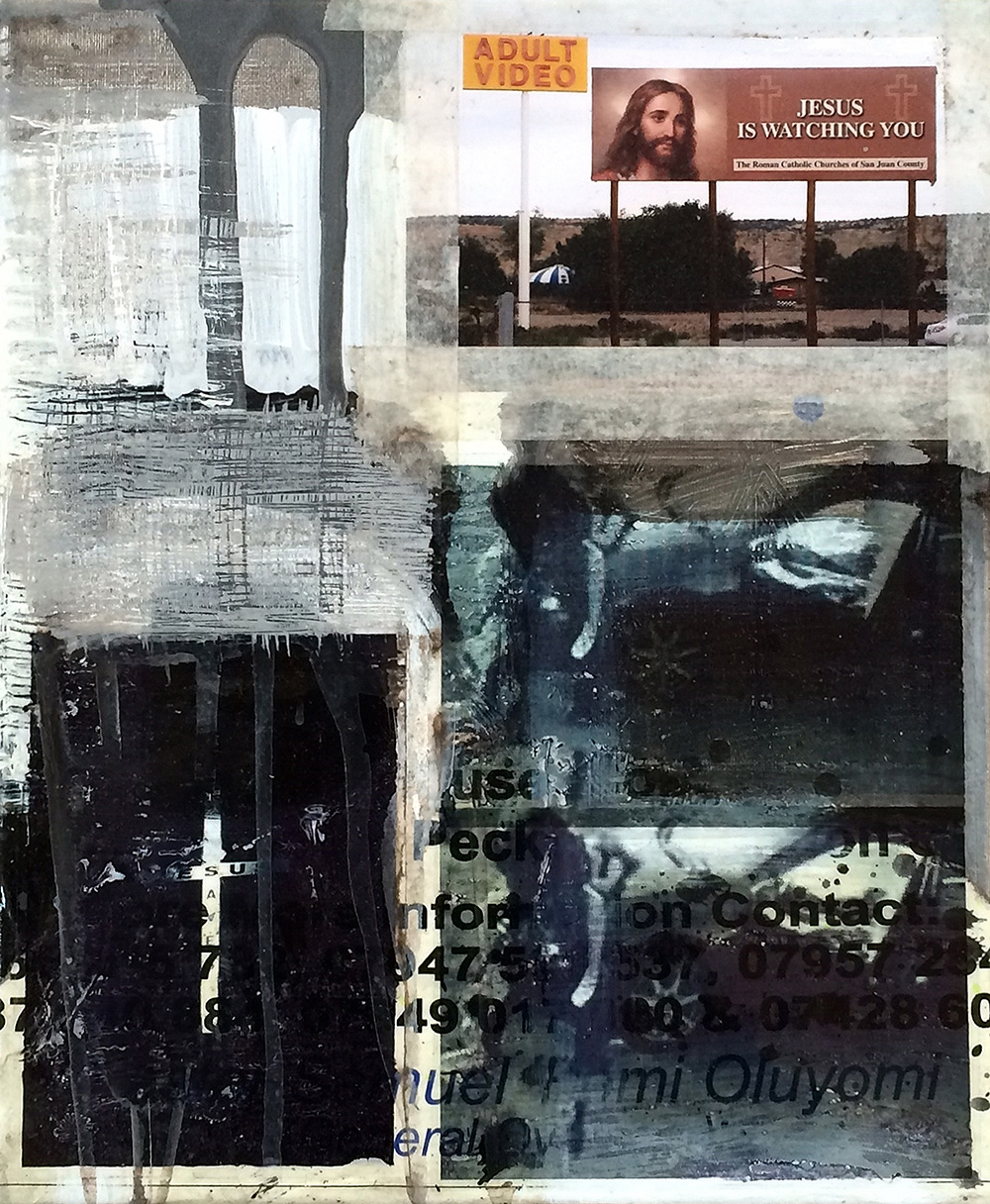 Zavier Ellis  Repent II  2014 Acrylic c-type print, found poster, masking tape 12 x 10 inches each Courtesy of the Artist
