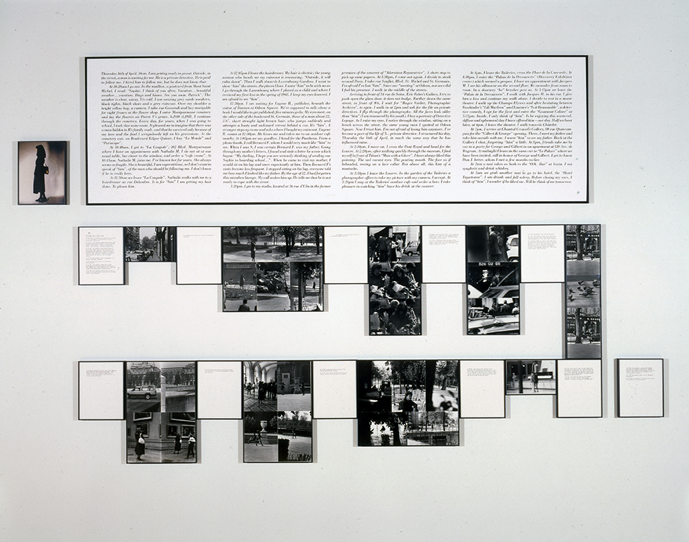 Sophie Calle  The Shadow  1981 Photographs and text, edition 1/3 75 x 115 in. (190.5 x 292.1 cm) The Museum of Contemporary Art, Los Angeles Gift of Judy and Stuart Spence 93.66
