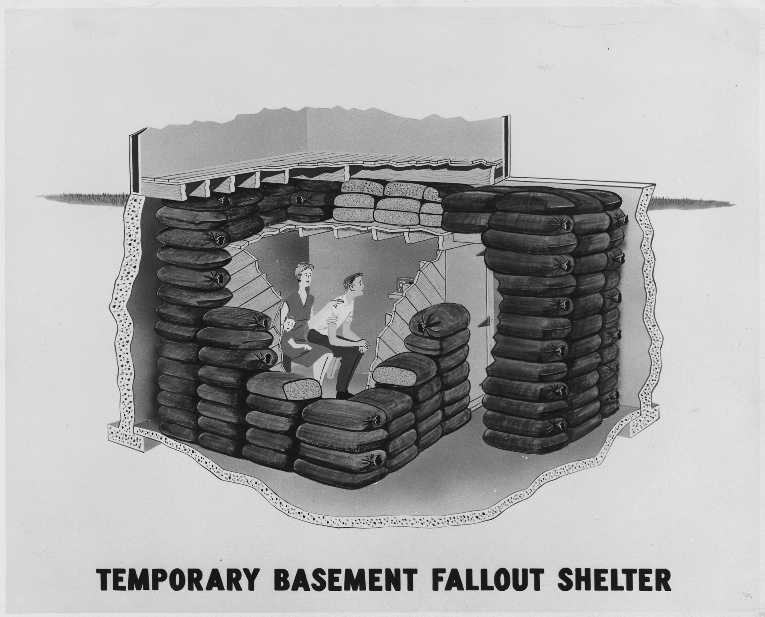 ca.1957, Temporary Basement Fallout Shelter, [artist's rendition.], Record Group 311: Records of the Federal Emergency Management Agency, 1956 - 2008, Photographs of Civil Defense Personnel and Activities, compiled 1964 - 1986