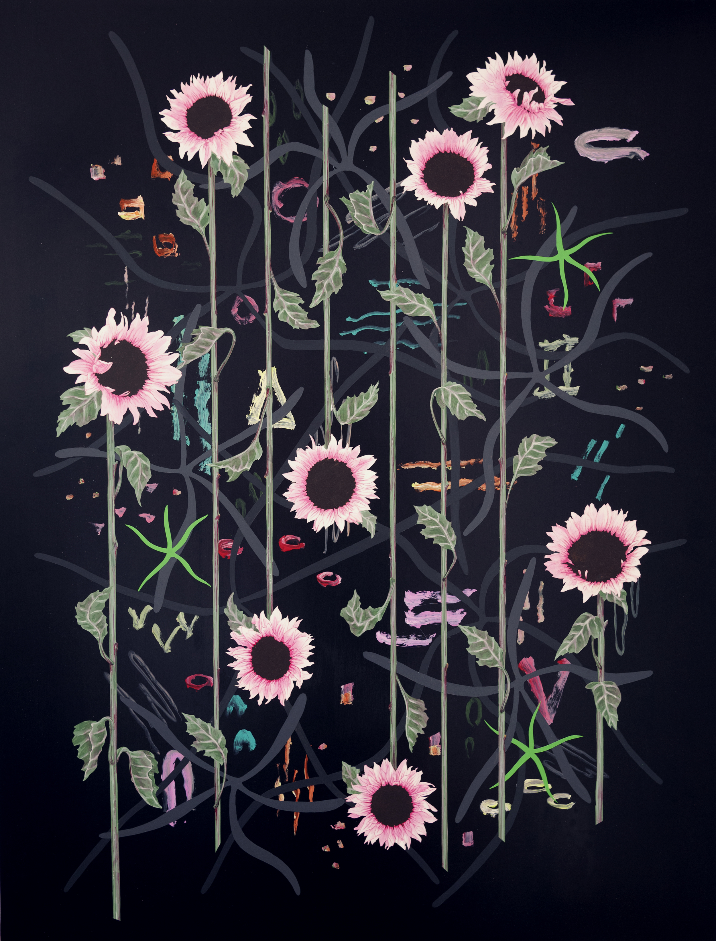 Roland Reiss    Sunflowers After Dark  2013, oil and acrylic on canvas