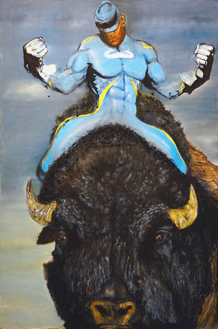 Chaz Guest  Buffalo Warrior and JAAJO  2014 Oil on Canvas 72 x 48 inches