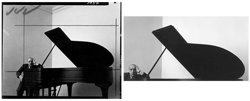 Igor Stravinski fotografiado por Randy Newman. Negativo a la izquierda con indicaciones para el laboratorio y resultado final a la derecha.