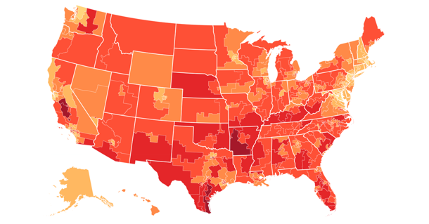 The darker colors on this map indicate the higher percentages of low-wage workers that would benefit from an increase in the minimum wage.