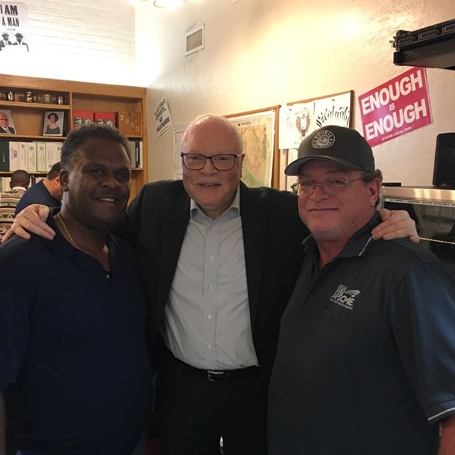 Walter Crenshaw (President, Local 3282), Lee Saunders (President, AFSCME International), Erik McMorrow (Vice President, Local 3282)