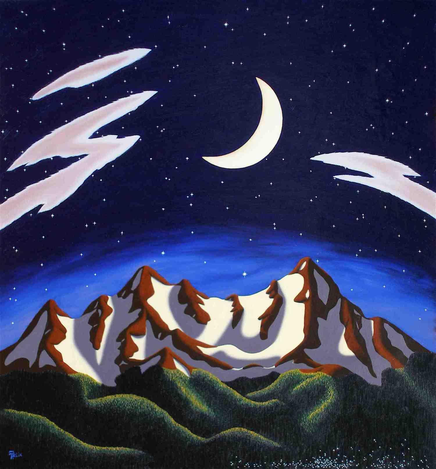 """Crescent Moon , oil no panel 27"""" x 29"""""""