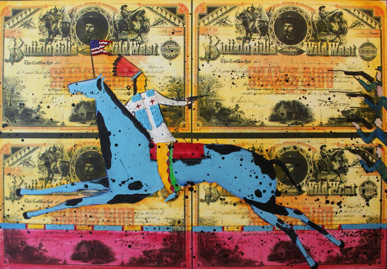 Stanley Natchez   Buffalo Bill Wild West Show,   oil and mixed media on stock certificates
