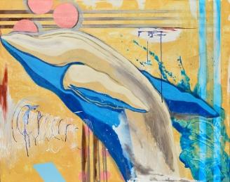 "Frank Buffalo Hyde and Courtney Leonard, ""Round Dance,"" mixed media on canvas, (2015)"