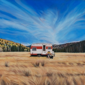 Kevin Kehoe Salt Lake City Utah Modern West Fine Art Western Therapy Camper Man Sky Clouds grass brown blue