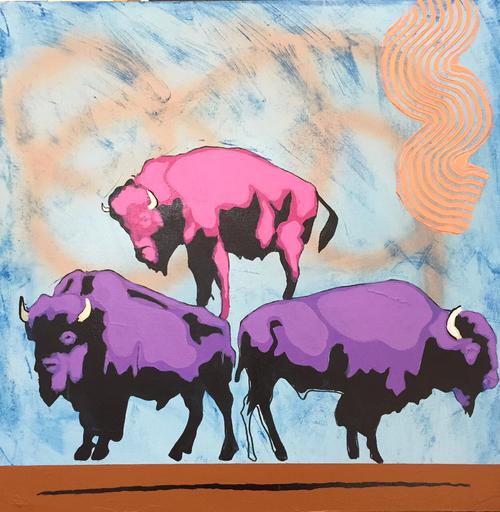 "Frank Buffalo Hyde ,  Food Pyramid,  acrylic, 24x24"""