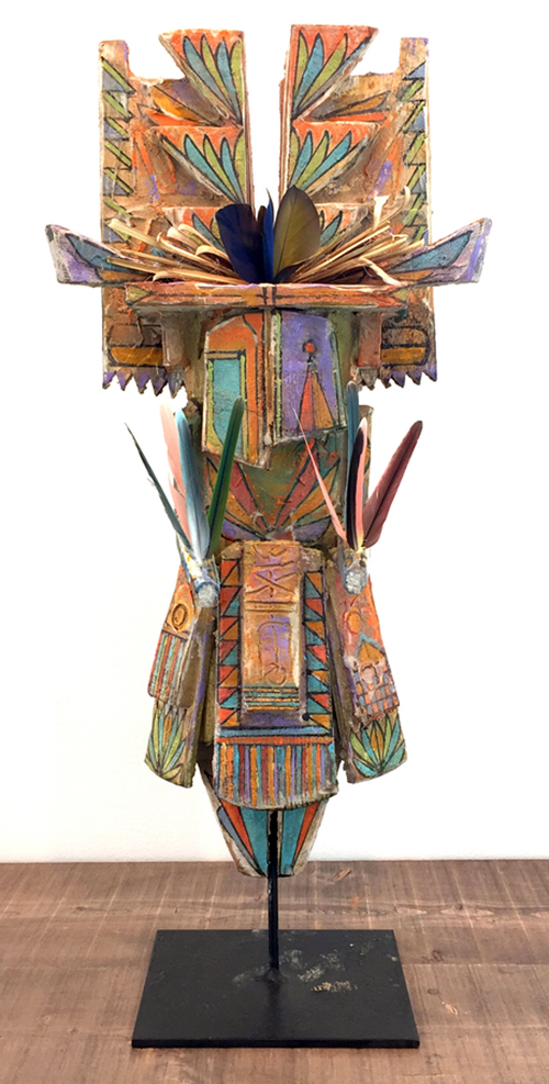 """Sheldon Harvey ,  Medium Wood Sculpture , mixed media on wood, 30 x 12 x 8"""""""