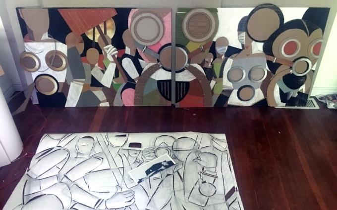 Jann Haworth_studio_March_Mannequin Defectors_Modern West Fine Art.JPG