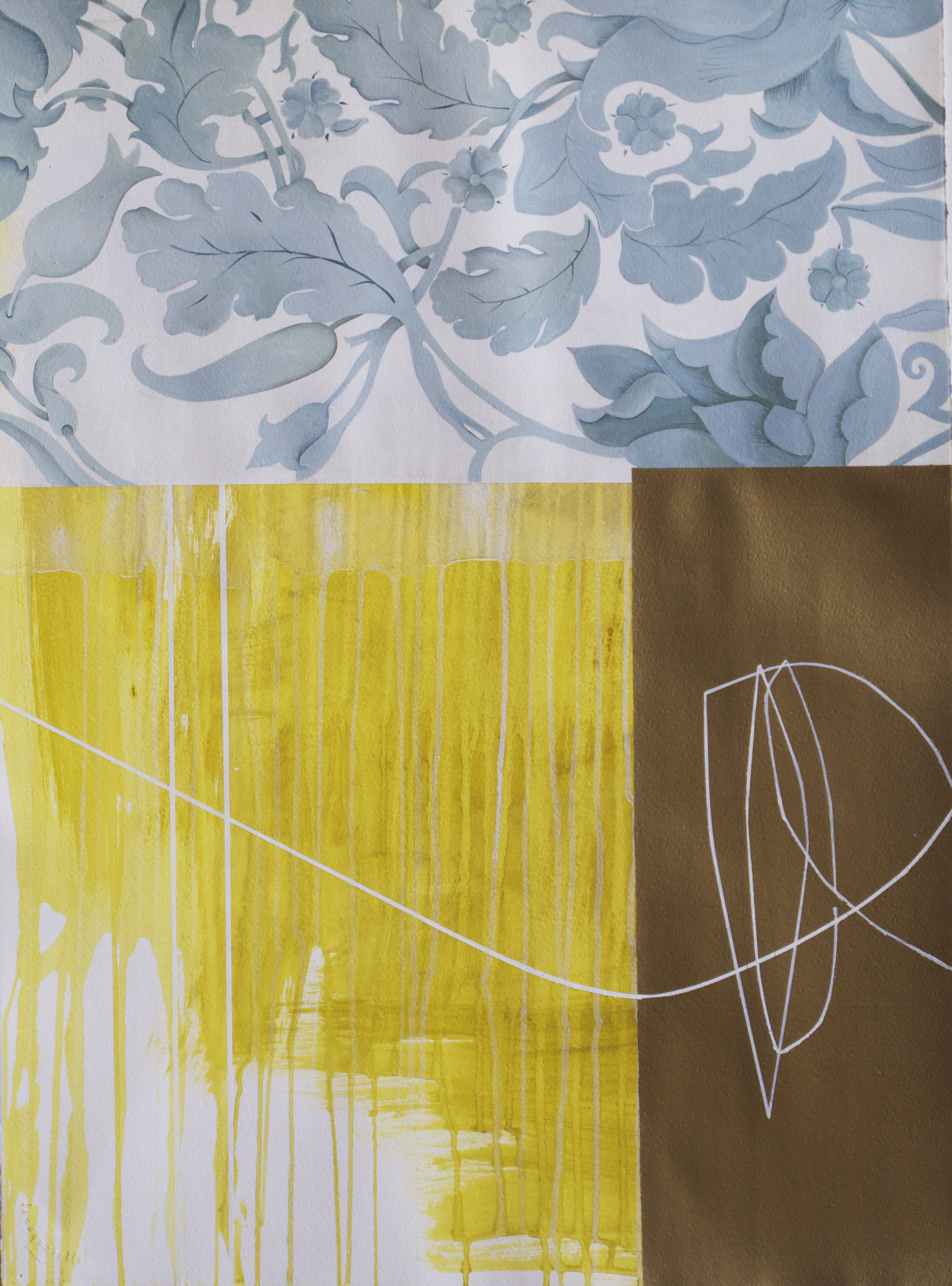 Kiki Gaffney    Gold Facade   acrylic and oil on paper, 30 x 22.5 in.