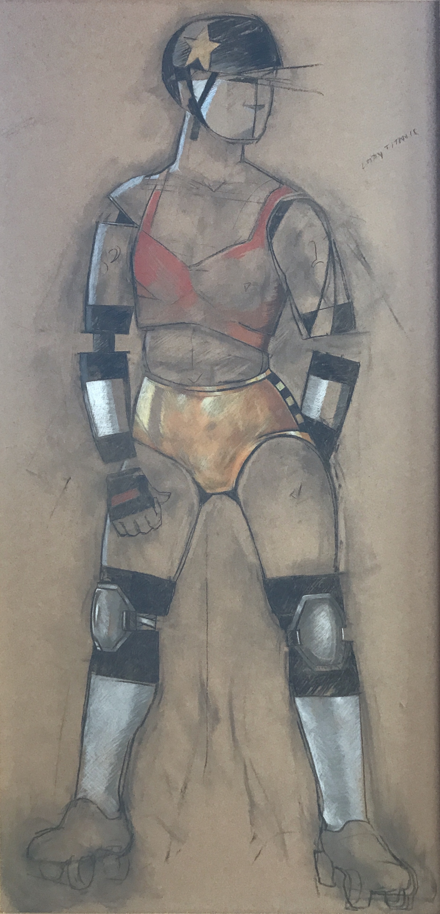 Jann Haworth    Mannequin Defector: Cyborg Derby Jammer   charcoal and pastel on paper, 72 x 35 in.