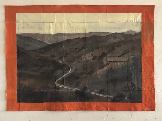 Tom Judd    River   oil with collaged canvas, 41 x 52 in.