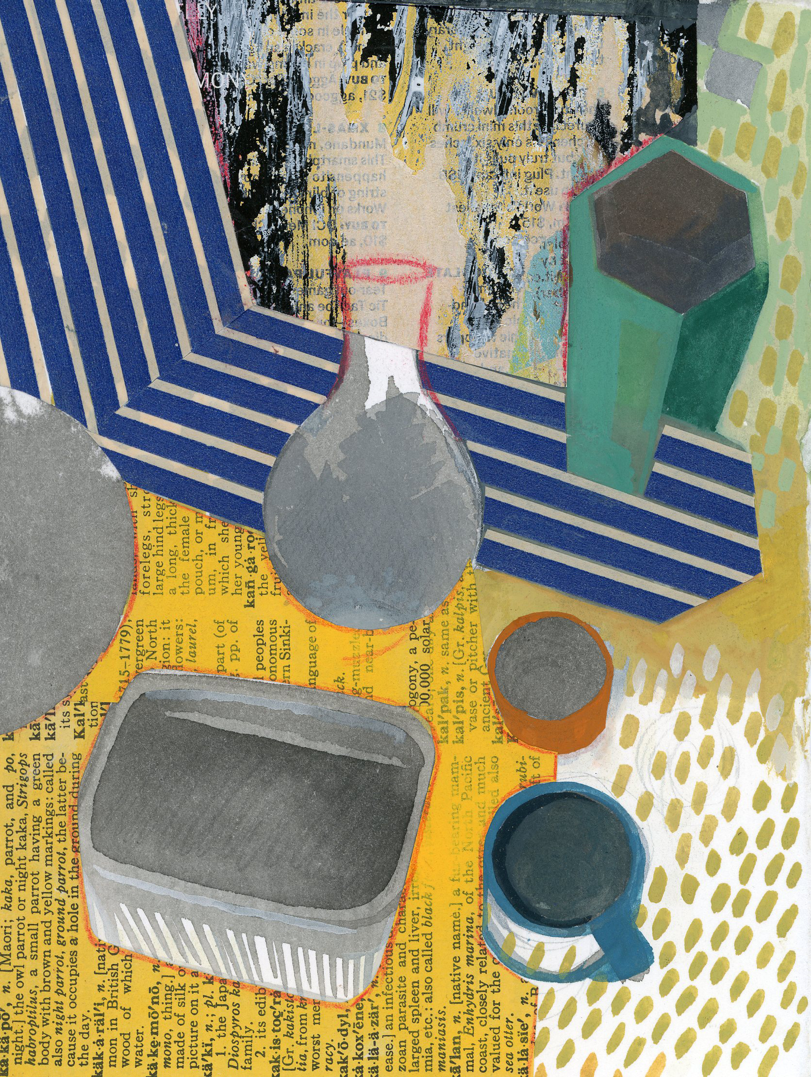 Jennifer Barton    Newspaper   mixed media-collage and acrylic, 5.5 x 7.5 in.