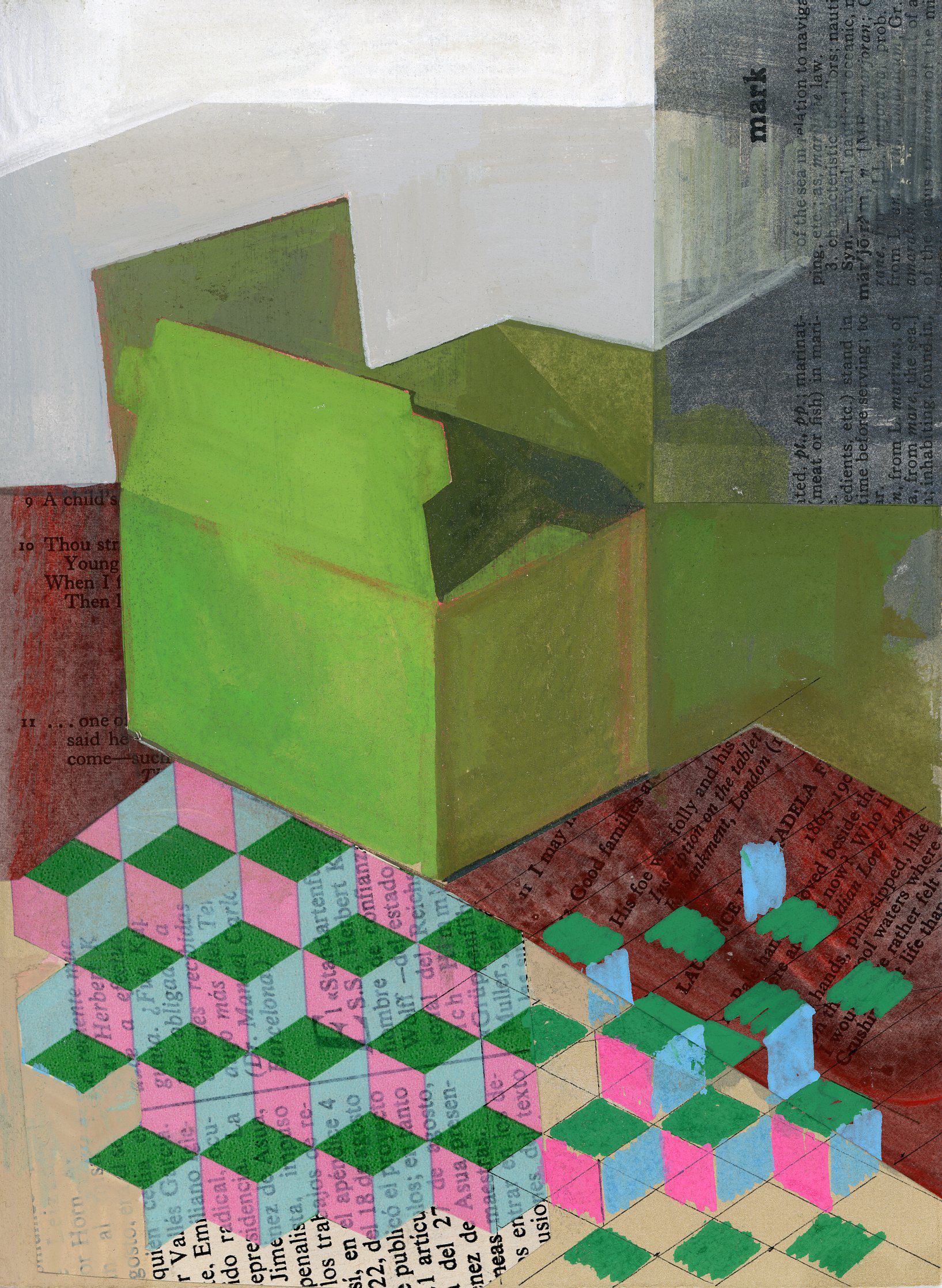 Jennifer Barton    Green Box   mixed media-collage and acrylic, 5.5 x 7.5 in.