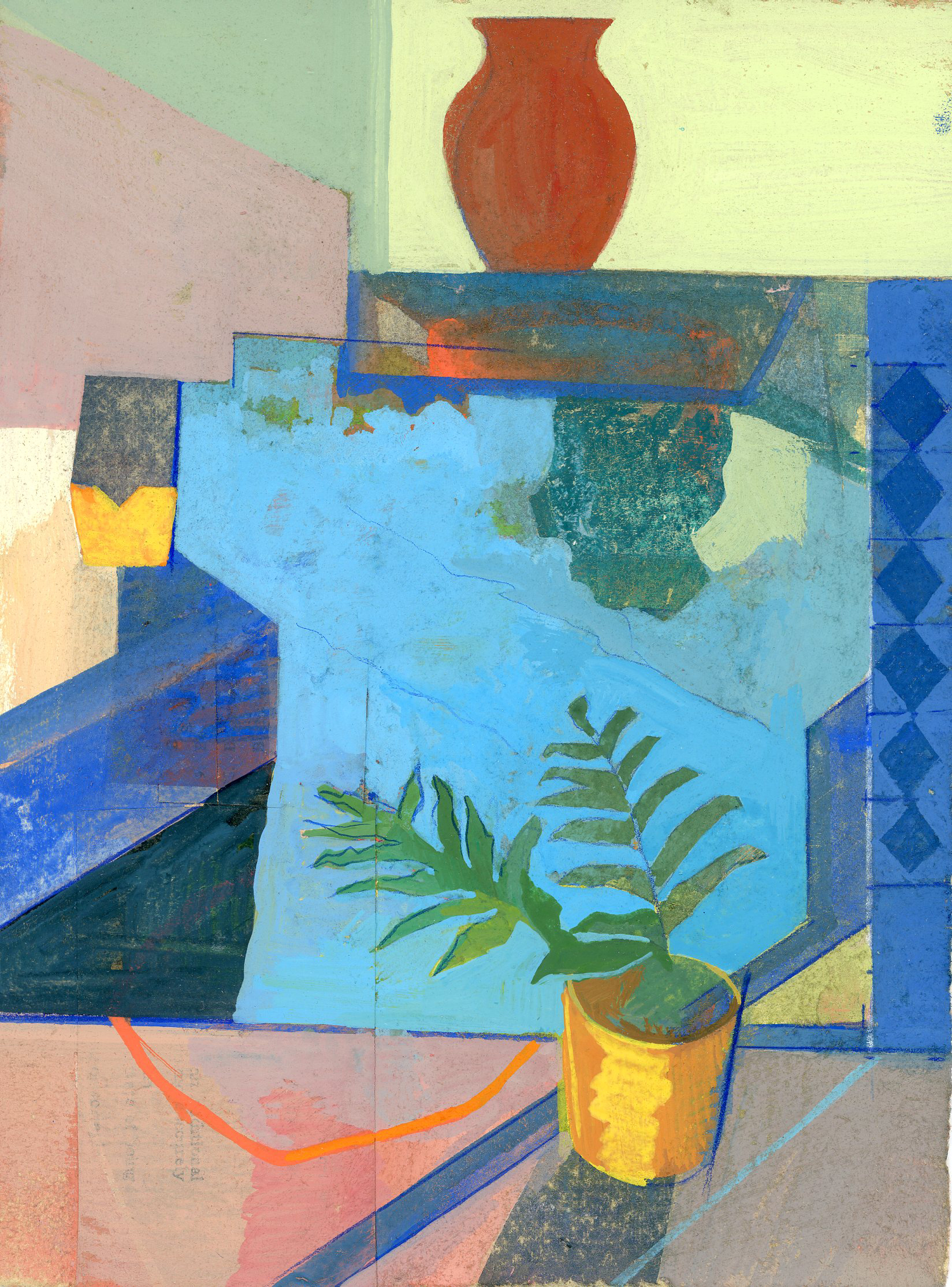 Jennifer Barton    Moroccan Fountain   mixed media-collage and acrylic, 5.5 x 7.5 in.