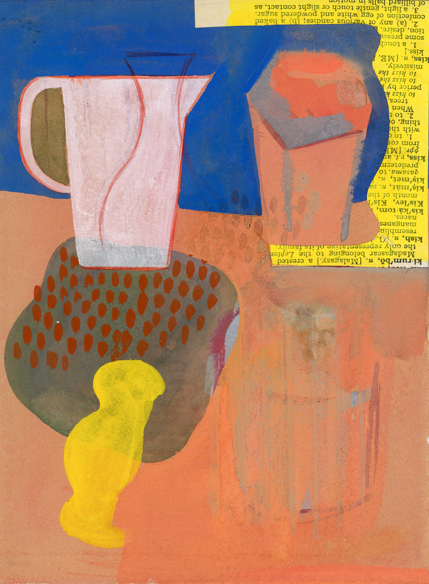 Jennifer Barton    White Pitcher   mixed media-collage and acrylic, 5.5 x 7.5 in.