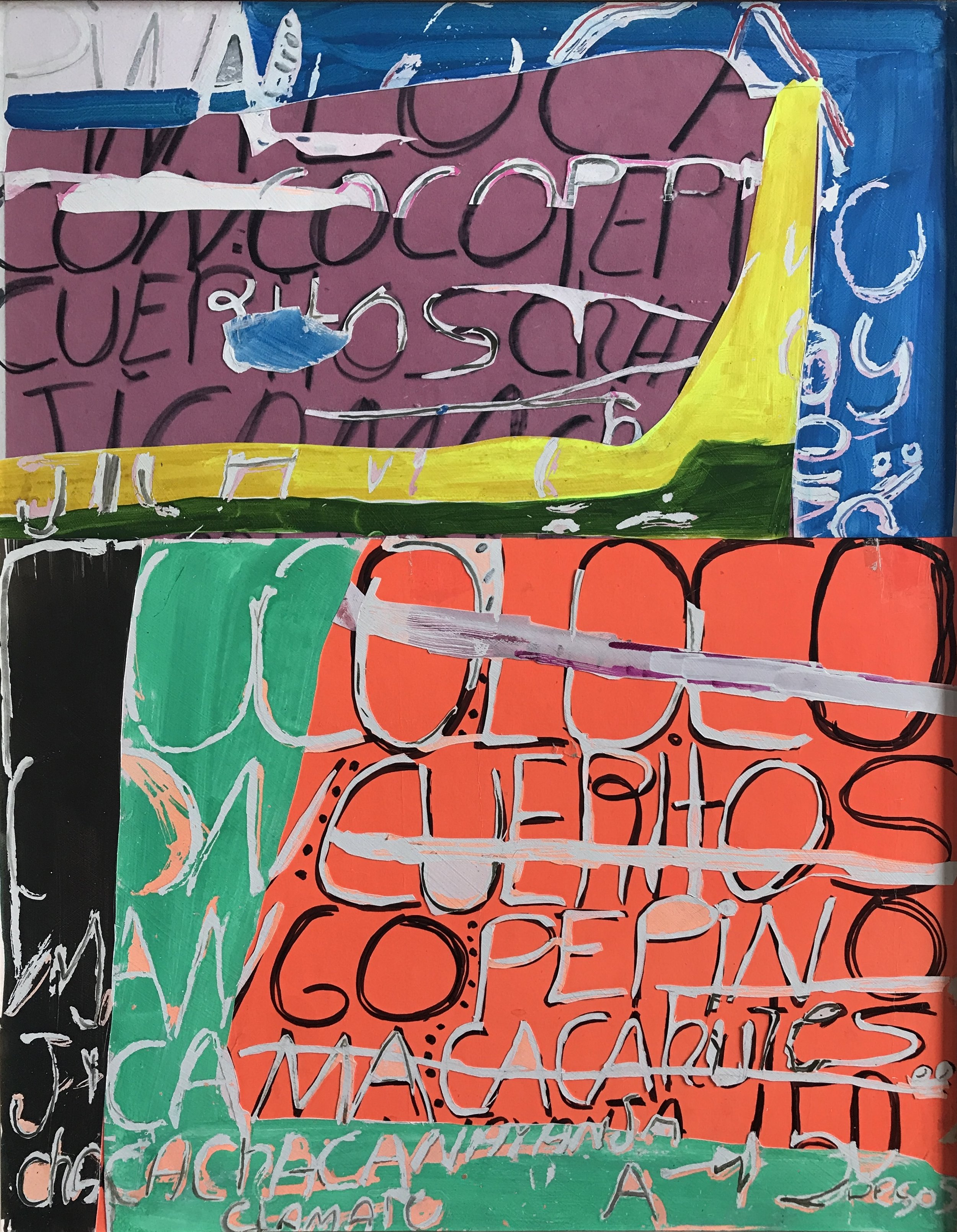 Jonathan Frioux    Pico de Gallo #10   mixed media on paper, 33.5 x 26.5 in.