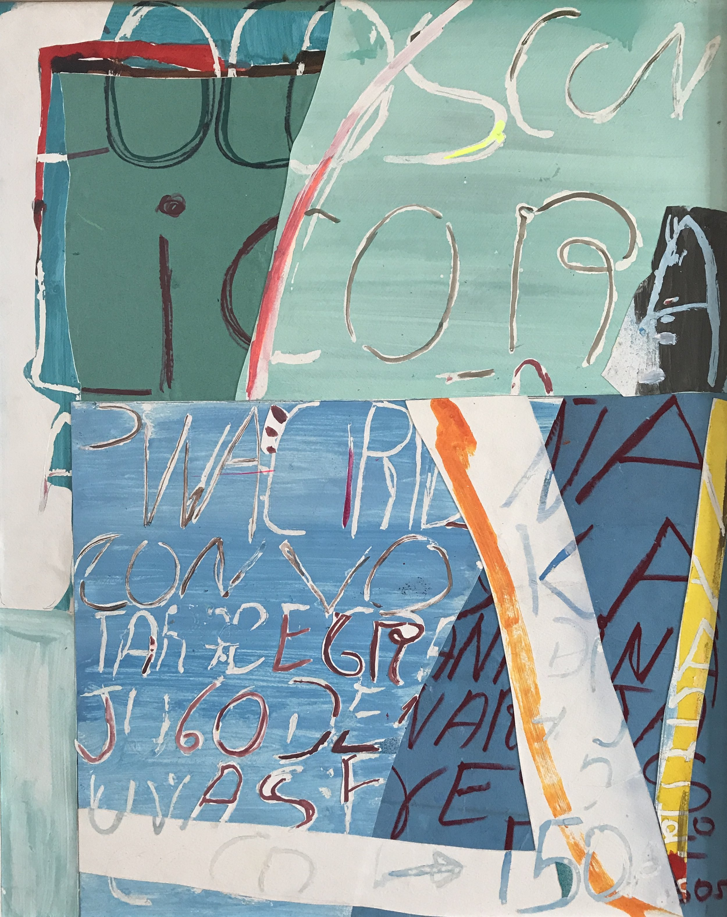 Jonathan Frioux    Pico de Gallo #9   mixed media on paper, 35 x 28 in.