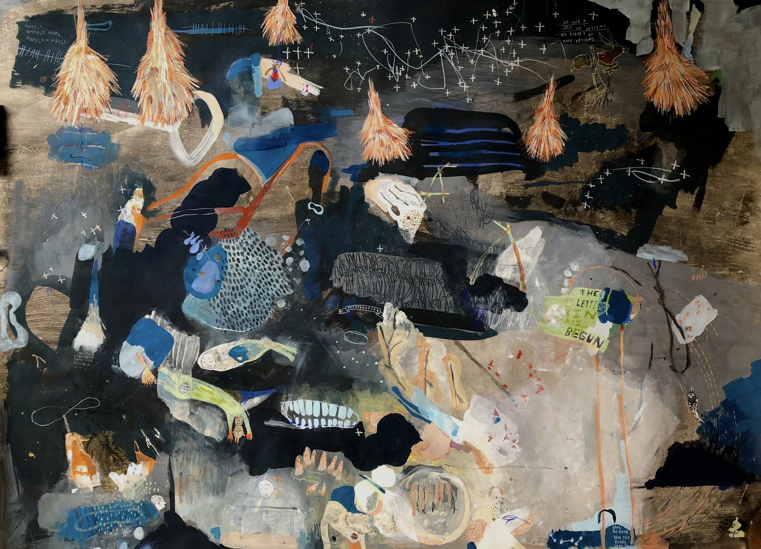 Wren Ross    A Great Spirit Walks the Land   mixed media on paper, 54 x 36 in.
