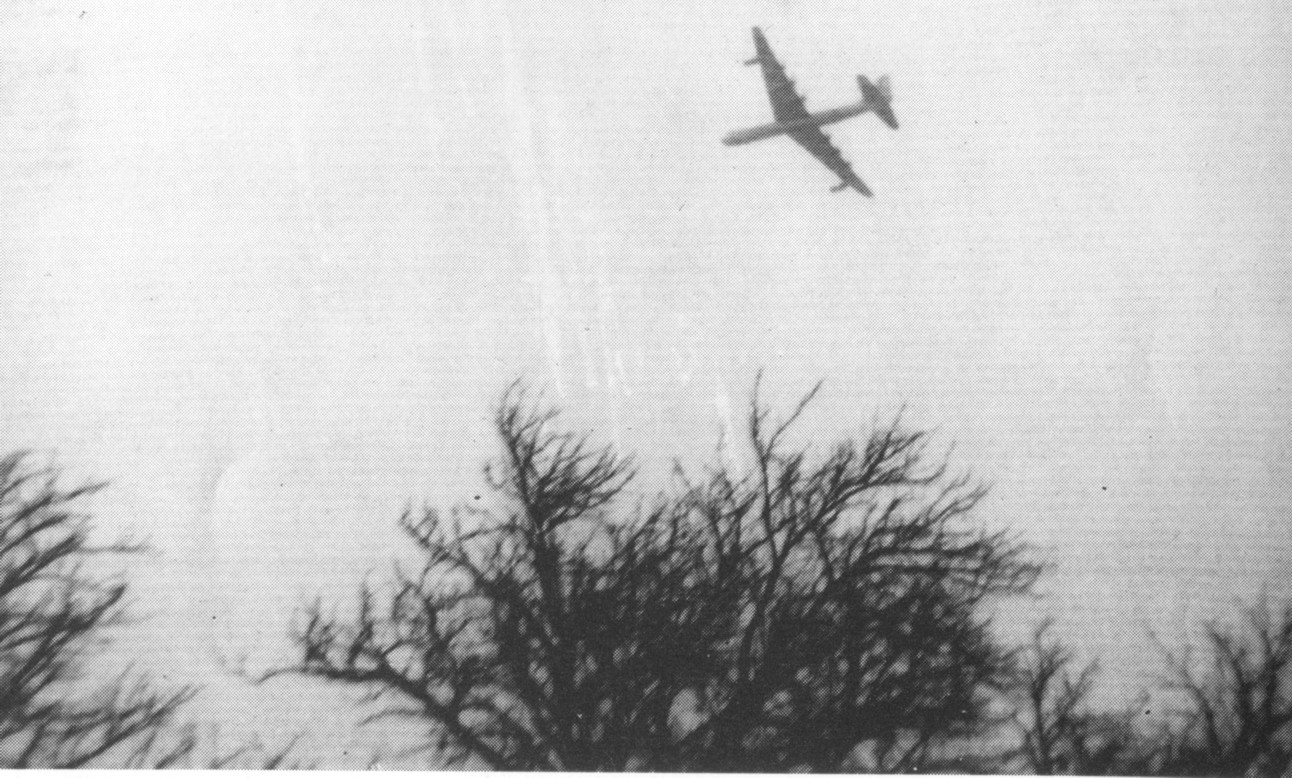 Only known photograph of B-36 circling over Central El Paso before the crash. From  Dave Etzold's Blog