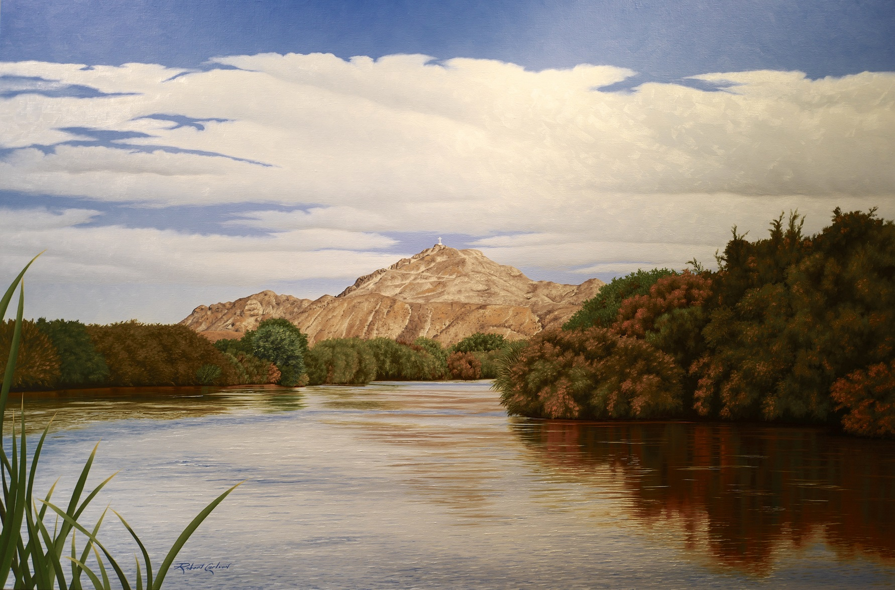 Mt. Cristo Rey and Rio Grande , painting by  Robert Carlson