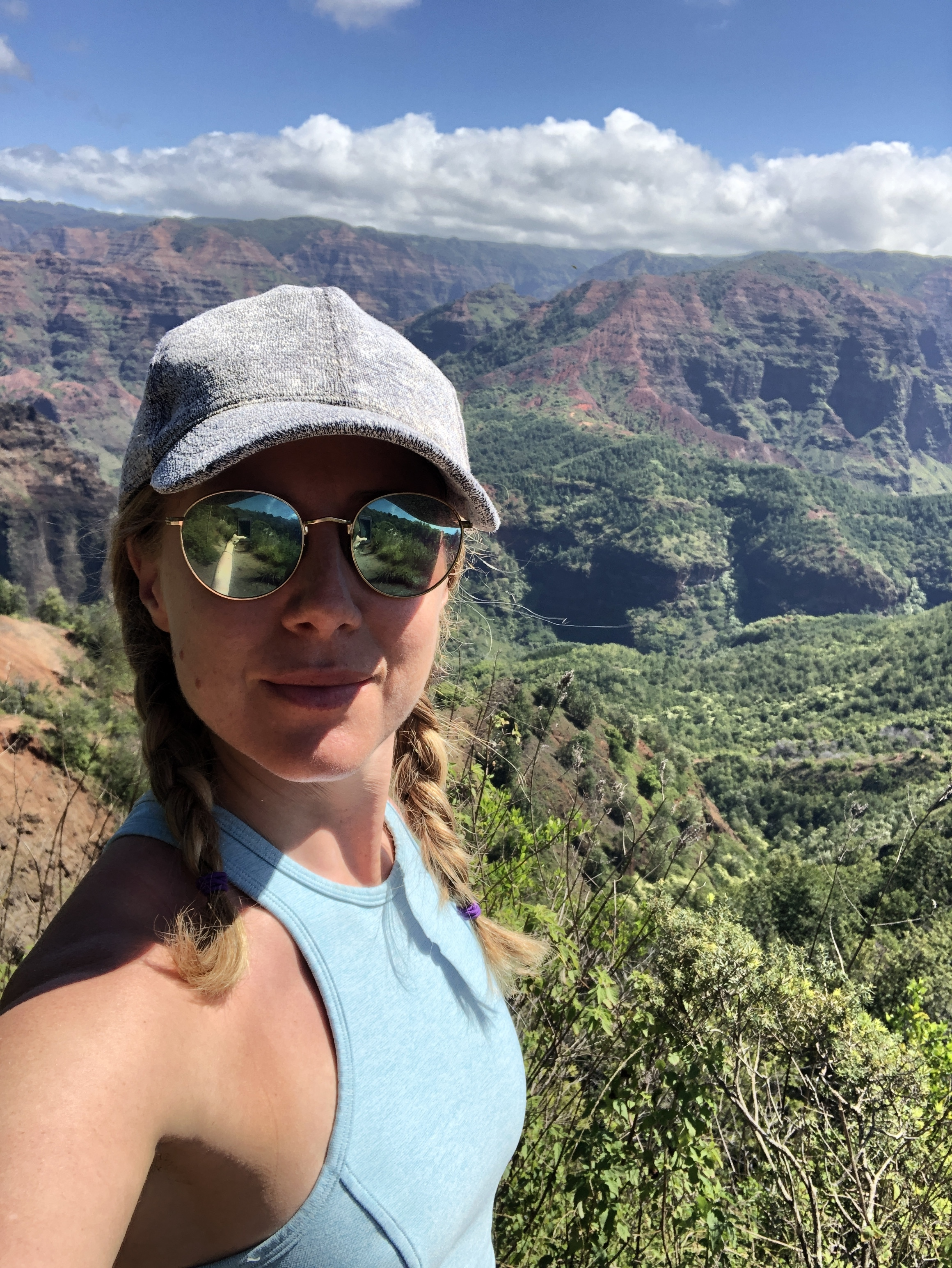 Doing my best serious selfie in Waimea Canyon, one of the most spectacular places you'll see on Kaua'i.