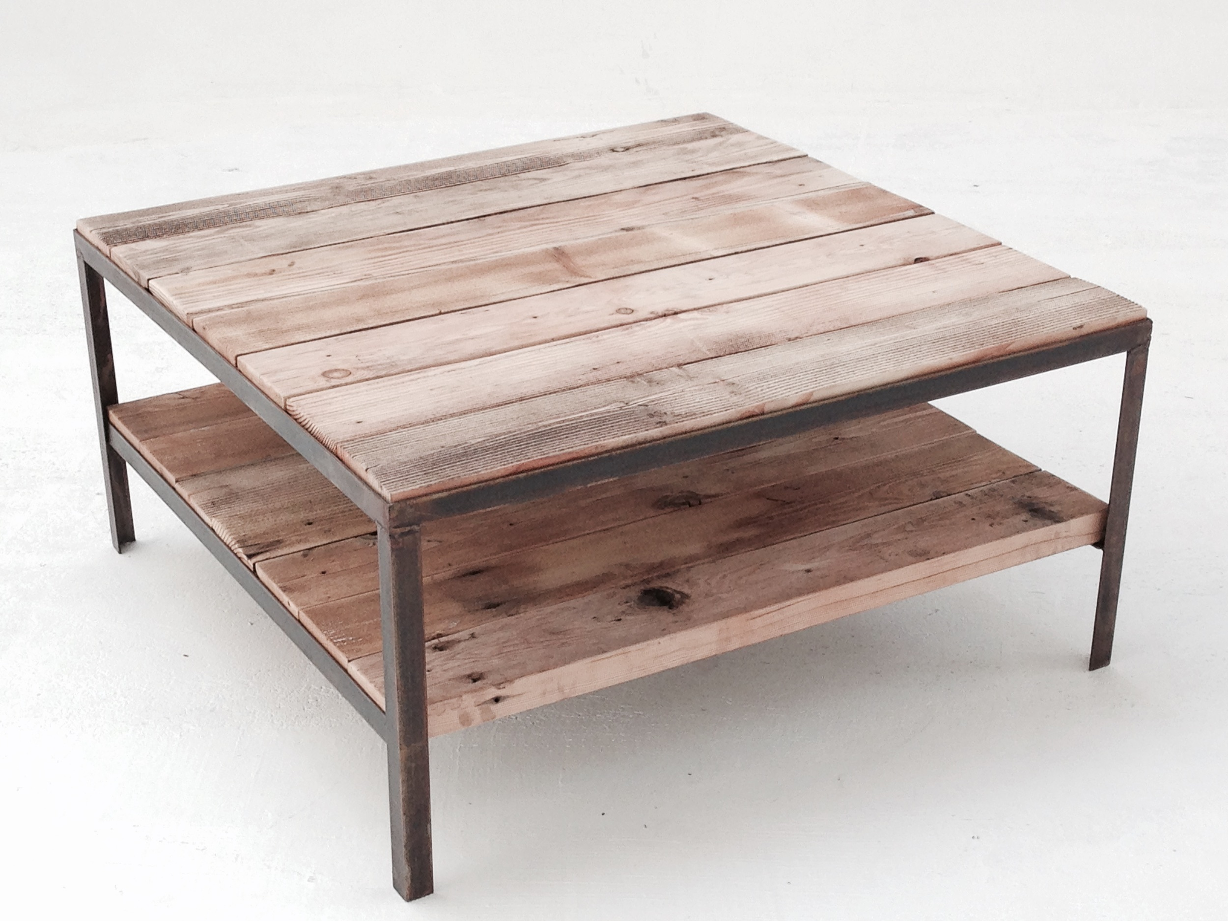 Two tiered coffee table. Materials: reclaimed fir, bronzed steel