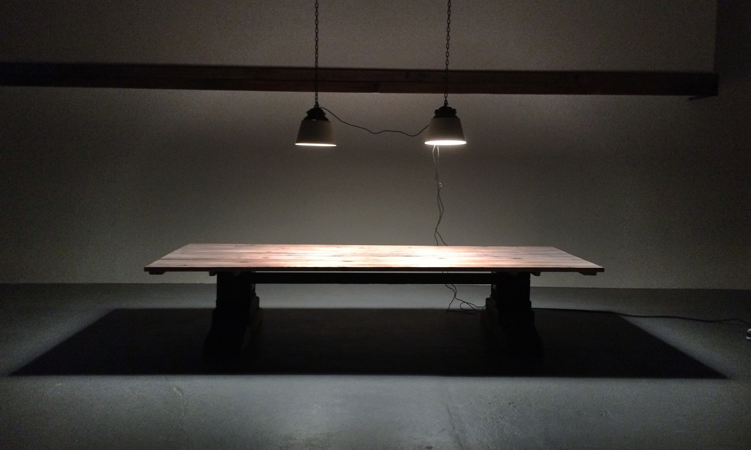 15' Lx5' W Conference Table, Materials: 300 year oldFir and Blackened Steel