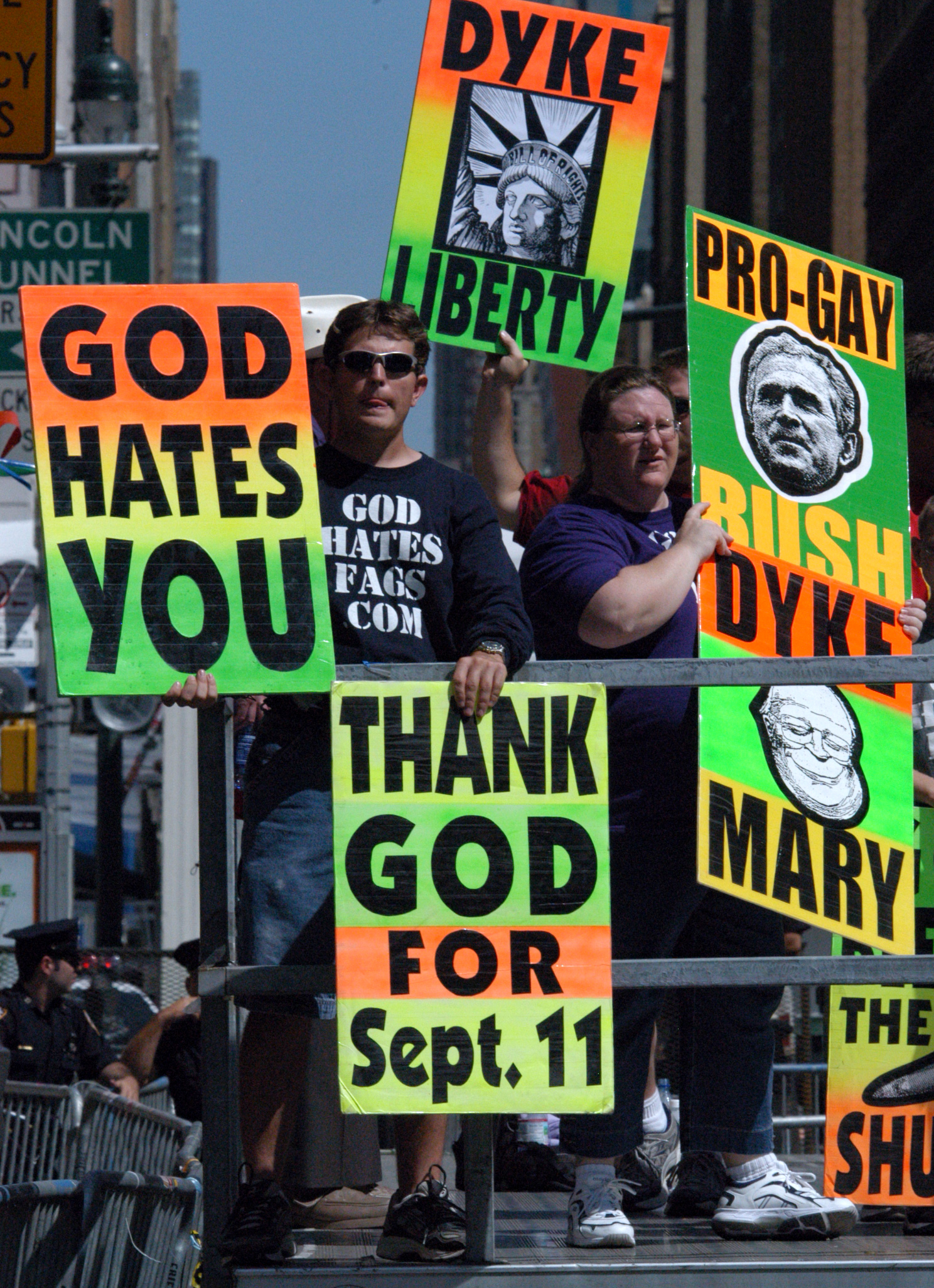 Protesters on 8th Avenue and 30th  Street near the RNC in NY.JPG