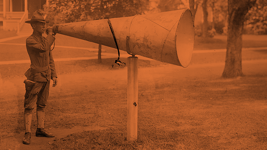 Bugle Megaphone, Fort Totten  / No date given. / Bain News Service / Public domain via  Library of Congress