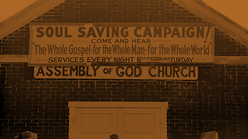 Sign on Assembly of God church, Pleasanton, New Mexico / 1939 / Russell Lee / via  Library of Congress