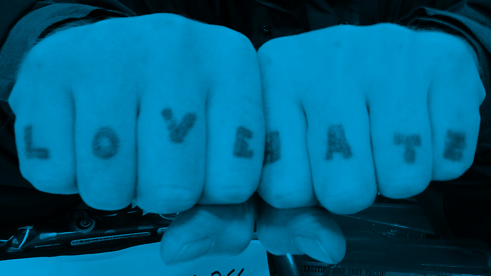(knuckle tattoos) [detail, color by K+S] /  Rebecca / 2012 / CC via Flickr